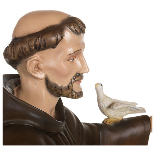 Statue of St. Francis with doves in fibreglass 100 cm for EXTERNAL USE 9