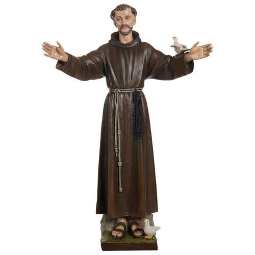 St François avec colombe fibre de verre 100 cm POUR EXTÉRIEUR