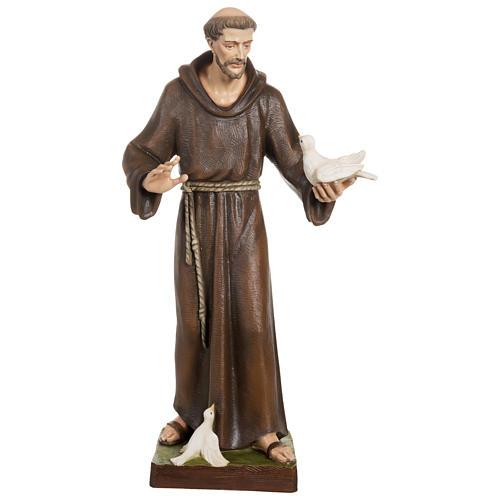 Statue St François avec colombe fibre de verre 80 cm POUR EXTÉRIEUR