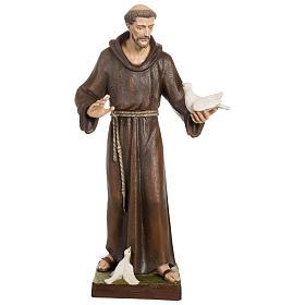 Statua San Francesco con colombe vetroresina 80 cm PER ESTERNO