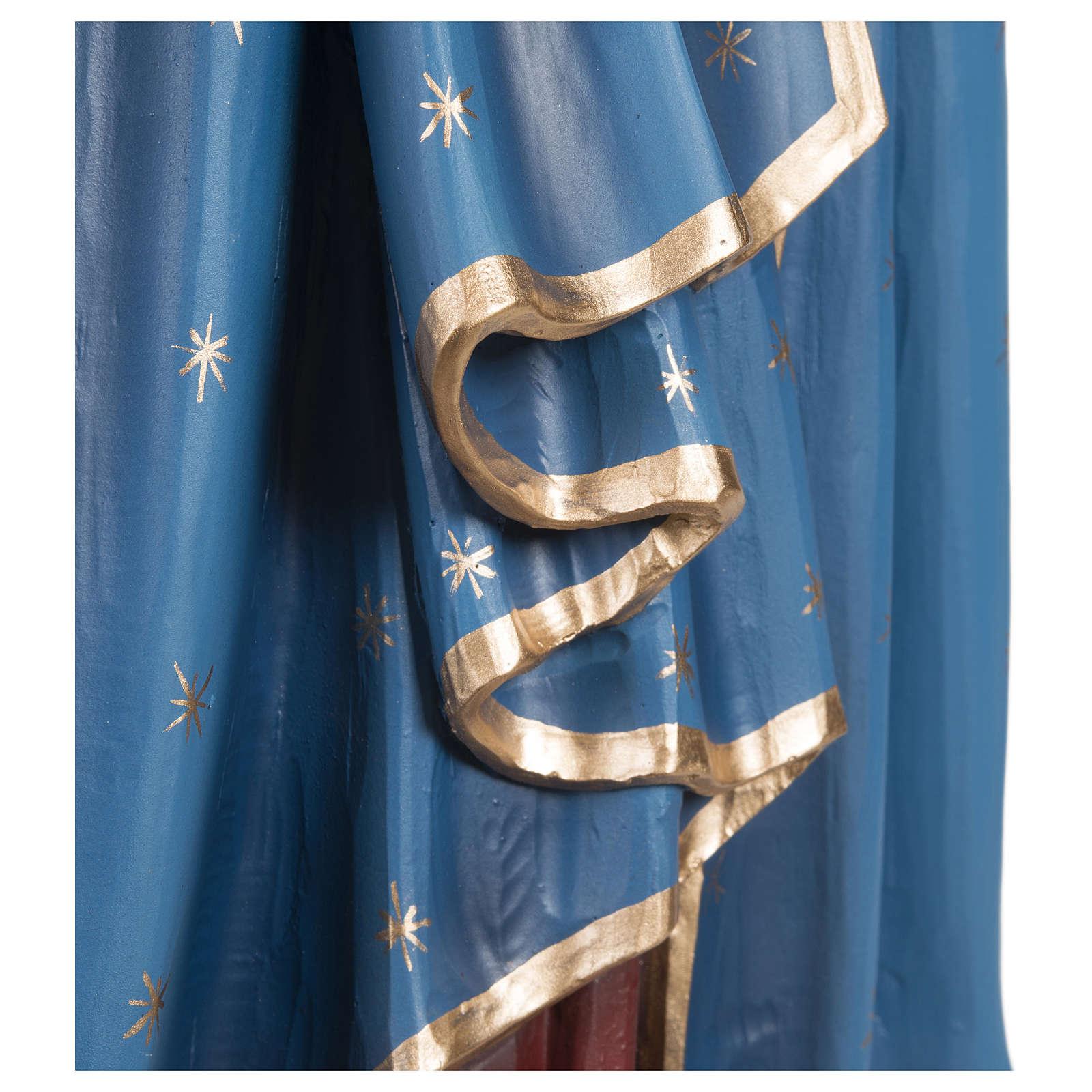 Estatua Virgen con niño capa azul rojo fiberglass 85 cm PARA EXTERIOR 4