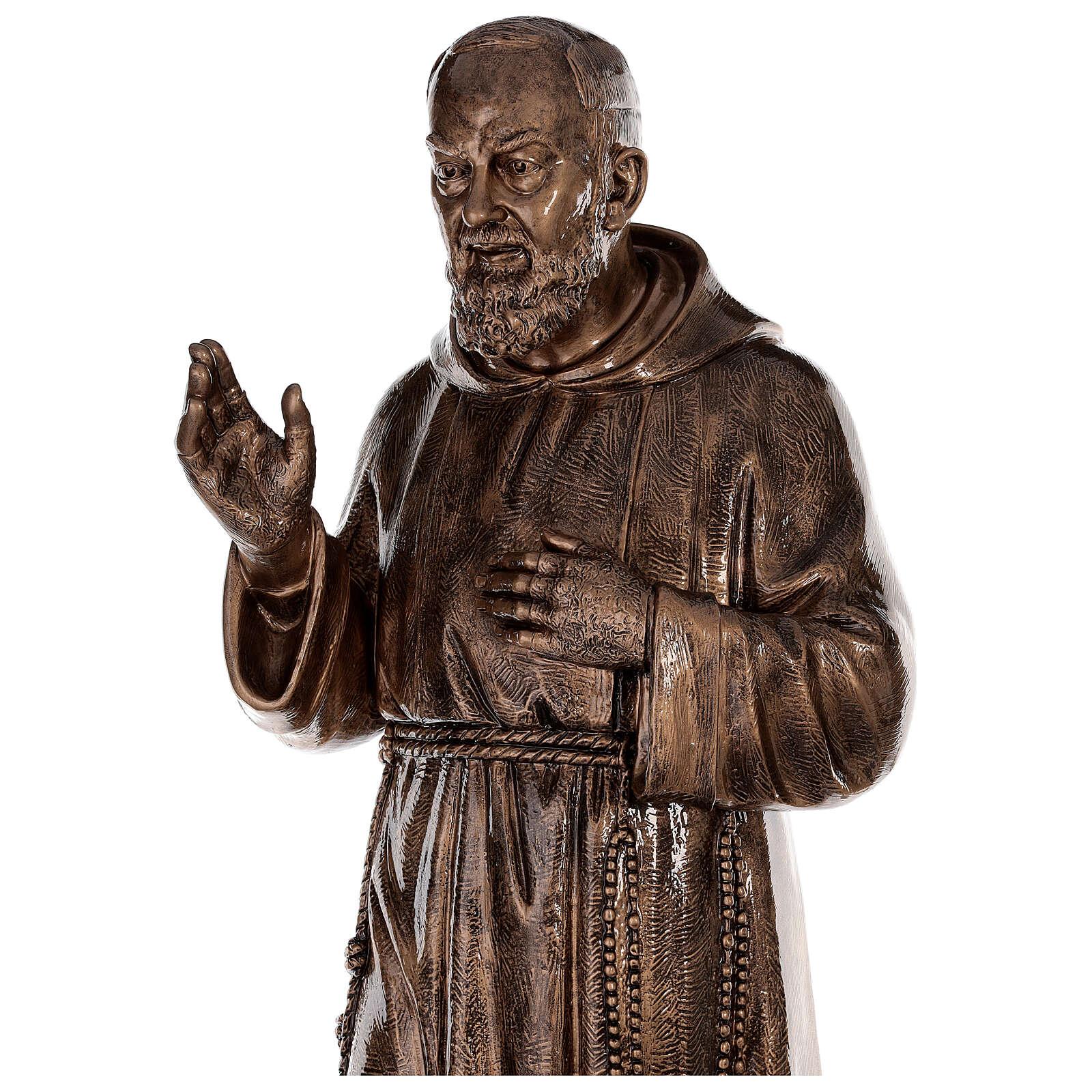 Statue Saint Pio fibre de verre patinée bronze 175 cm POUR EXTÉRIEUR 4