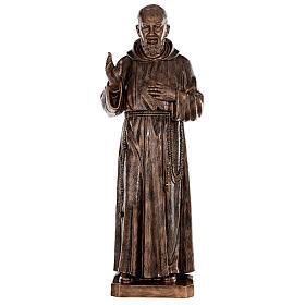 Statue Saint Pio fibre de verre patinée bronze 175 cm POUR EXTÉRIEUR s1
