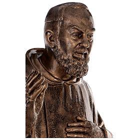 Statue Saint Pio fibre de verre patinée bronze 175 cm POUR EXTÉRIEUR s6