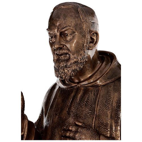 Statue Saint Pio fibre de verre patinée bronze 175 cm POUR EXTÉRIEUR 2