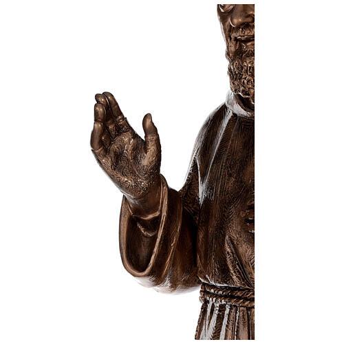 Statue Saint Pio fibre de verre patinée bronze 175 cm POUR EXTÉRIEUR 8
