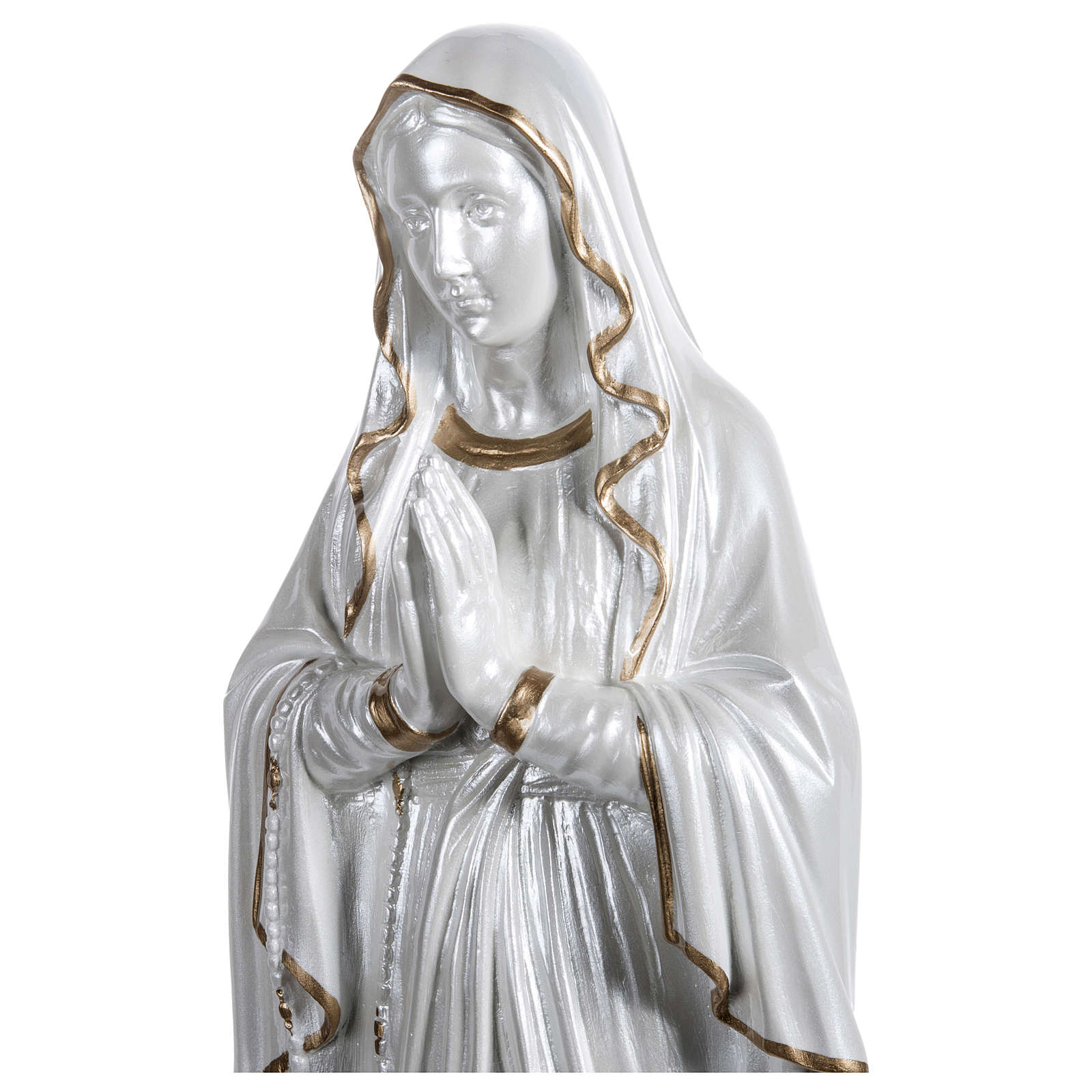 Our Lady of Lourdes Statue, 60 cm, in fiberglass, mother of pearl gold FOR OUTDOORS 4