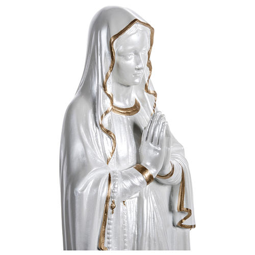 Our Lady of Lourdes Statue, 60 cm, in fiberglass, mother of pearl gold FOR OUTDOORS 3