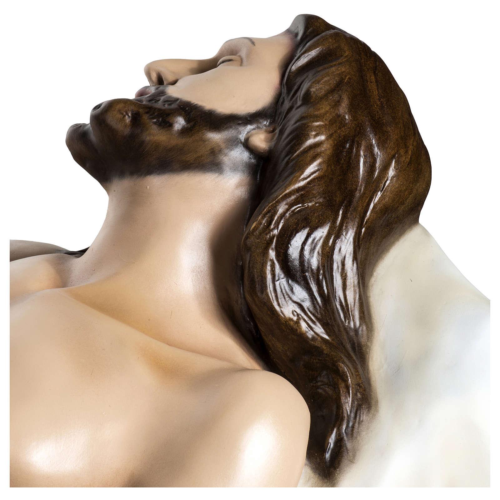 Gesù Morto 140 cm fibra di vetro colorata PER ESTERNO 4