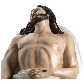 Gesù Morto 140 cm fibra di vetro colorata PER ESTERNO s13
