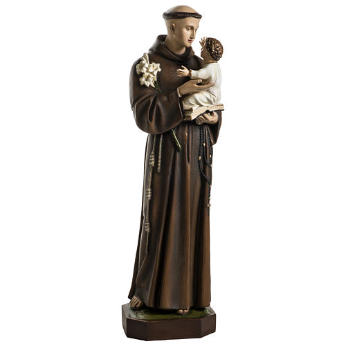 Statue of St. Anthony of Padua in coloured fibreglass 100 cm for EXTERNAL USE 1