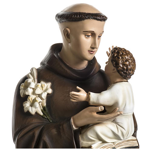 Statue of St. Anthony of Padua in coloured fibreglass 100 cm for EXTERNAL USE 5