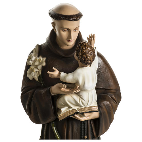 Statue of St. Anthony of Padua in coloured fibreglass 100 cm for EXTERNAL USE 6