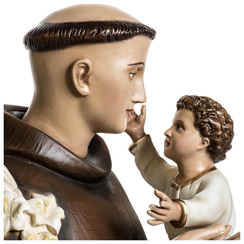 Statue of St. Anthony of Padua in coloured fibreglass 100 cm for EXTERNAL USE 7