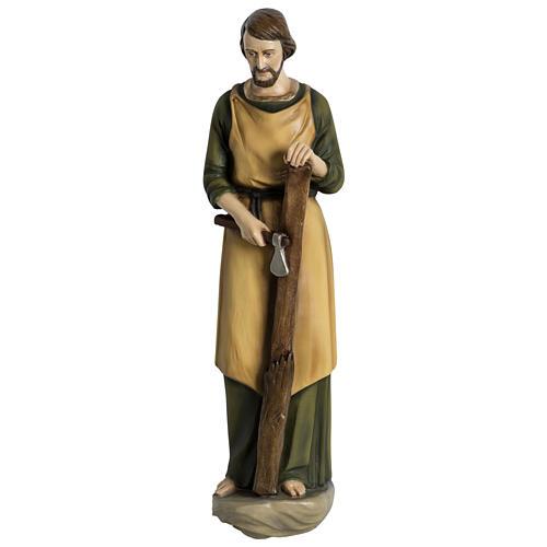 Estatua José carpintero 60 cm aplicación fibra de vidrio PARA EXTERIOR