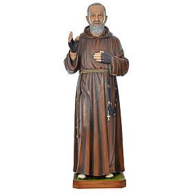 Statue Padre Pio 175 cm fibre de verre colorée POUR EXTÉRIEUR s1