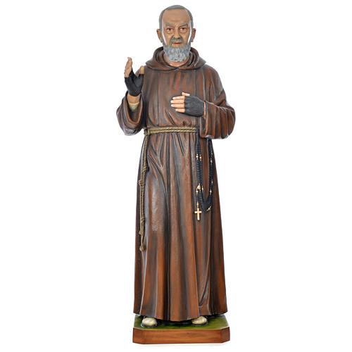 Statue Padre Pio 175 cm fibre de verre colorée POUR EXTÉRIEUR 1