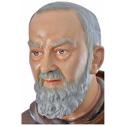 Statue Padre Pio 175 cm fibre de verre colorée POUR EXTÉRIEUR 2