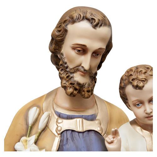 Estatua San José con niño 130 cm fibra de vidrio pintada PARA EXTERIOR