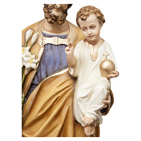 Saint Joseph with Child Jesus Statue, 130 cm in painted fiberglass, FOR OUTDOORS s4