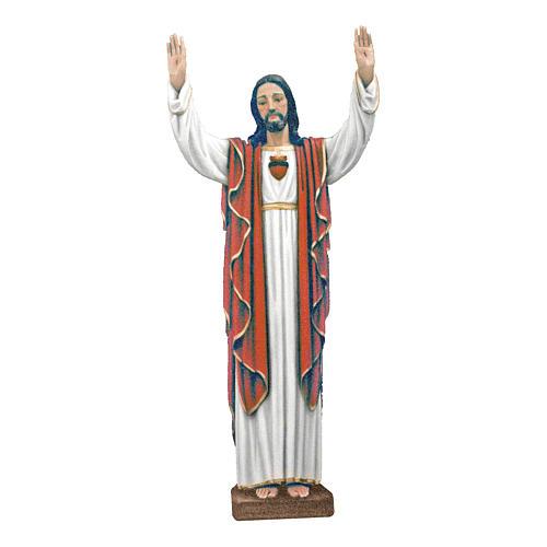 Estatua Cristo manos levantadas 170 cm fiberglass pintado PARA EXTERIOR