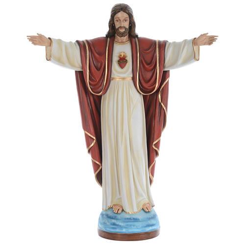 Estatua Jesús Redentor 160 cm fibra de vidrio pintada PARA EXTERIOR