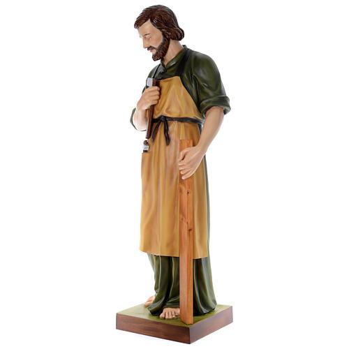 Estatua San José carpintero 150 cm fibra de vidrio coloreada PARA EXTERIOR 2