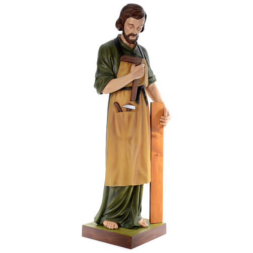Estatua San José carpintero 150 cm fibra de vidrio coloreada PARA EXTERIOR 3