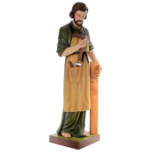 Statua San Giuseppe falegname 150 cm vetroresina colorata PER ESTERNO 3