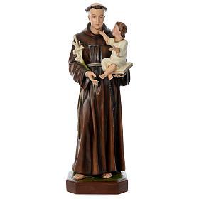 Estatua San Antonio de Padua 130 cm fibra de vidrio coloreada PARA EXTERIOR