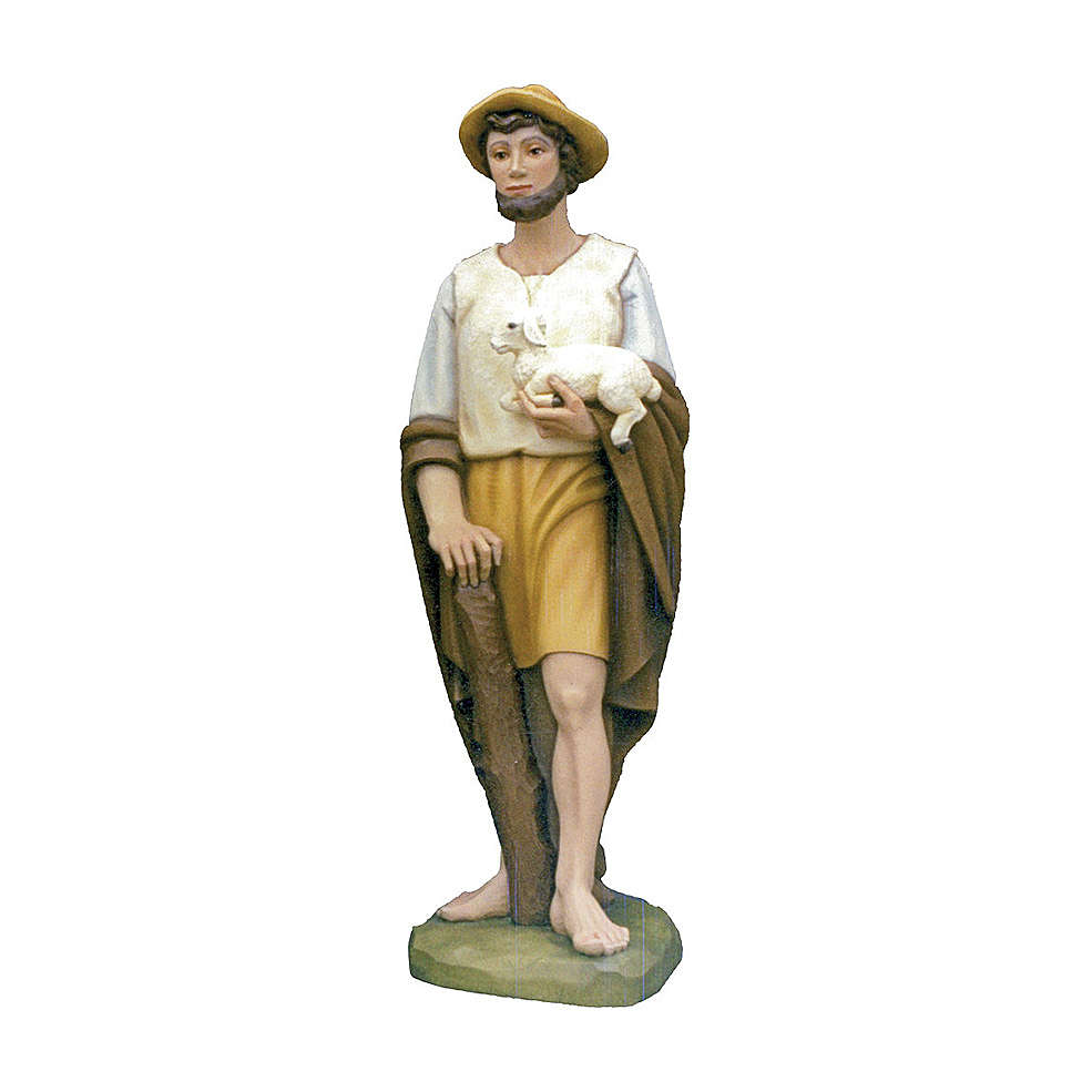 Shepherd with sheep in painted fibreglass 100 cm for EXTERNAL USE 4