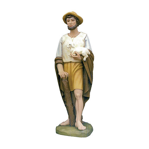 Shepherd with sheep in painted fibreglass 100 cm for EXTERNAL USE 1