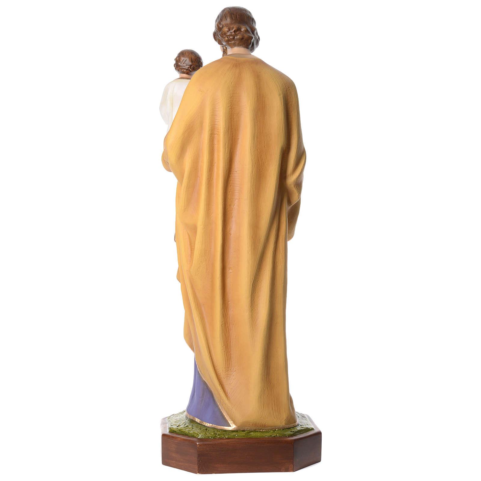 Estatua San José con Niño 160 cm fibra de vidrio ojos cristal PARA EXTERIOR 4