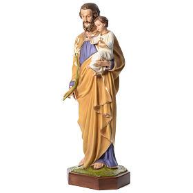 Estatua San José con Niño 160 cm fibra de vidrio ojos cristal PARA EXTERIOR s2