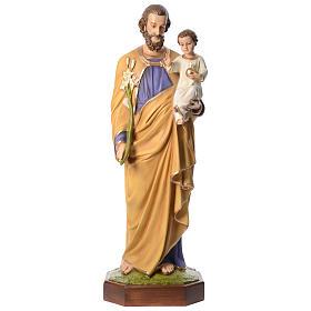 Statua San Giuseppe con Bambino 160 cm vetroresina occhi cristallo PER ESTERNO