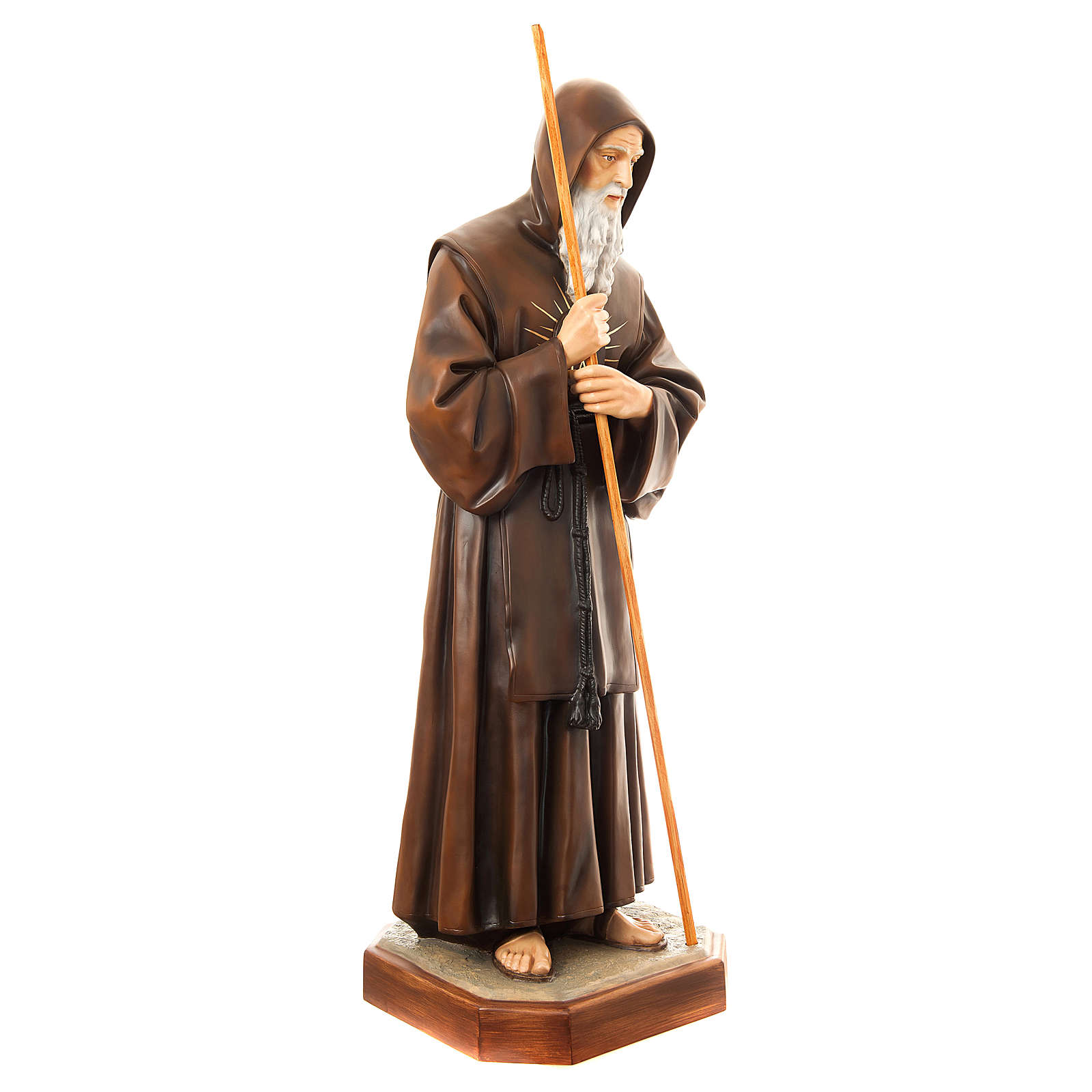 Statue of St. Francis of Paola in painted fibreglass 170 cm for EXTERNAL USE 4