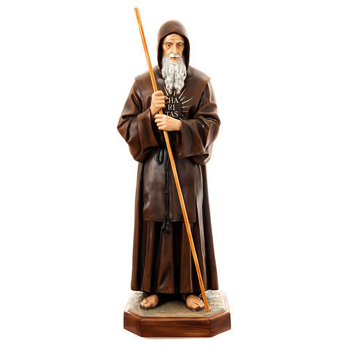 Statue of St. Francis of Paola in painted fibreglass 170 cm for EXTERNAL USE 1