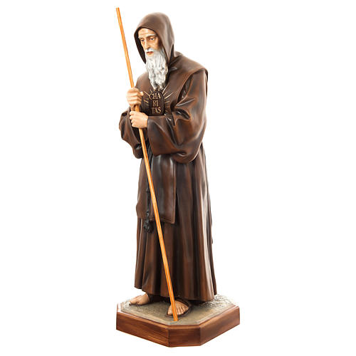 Statue of St. Francis of Paola in painted fibreglass 170 cm for EXTERNAL USE 3