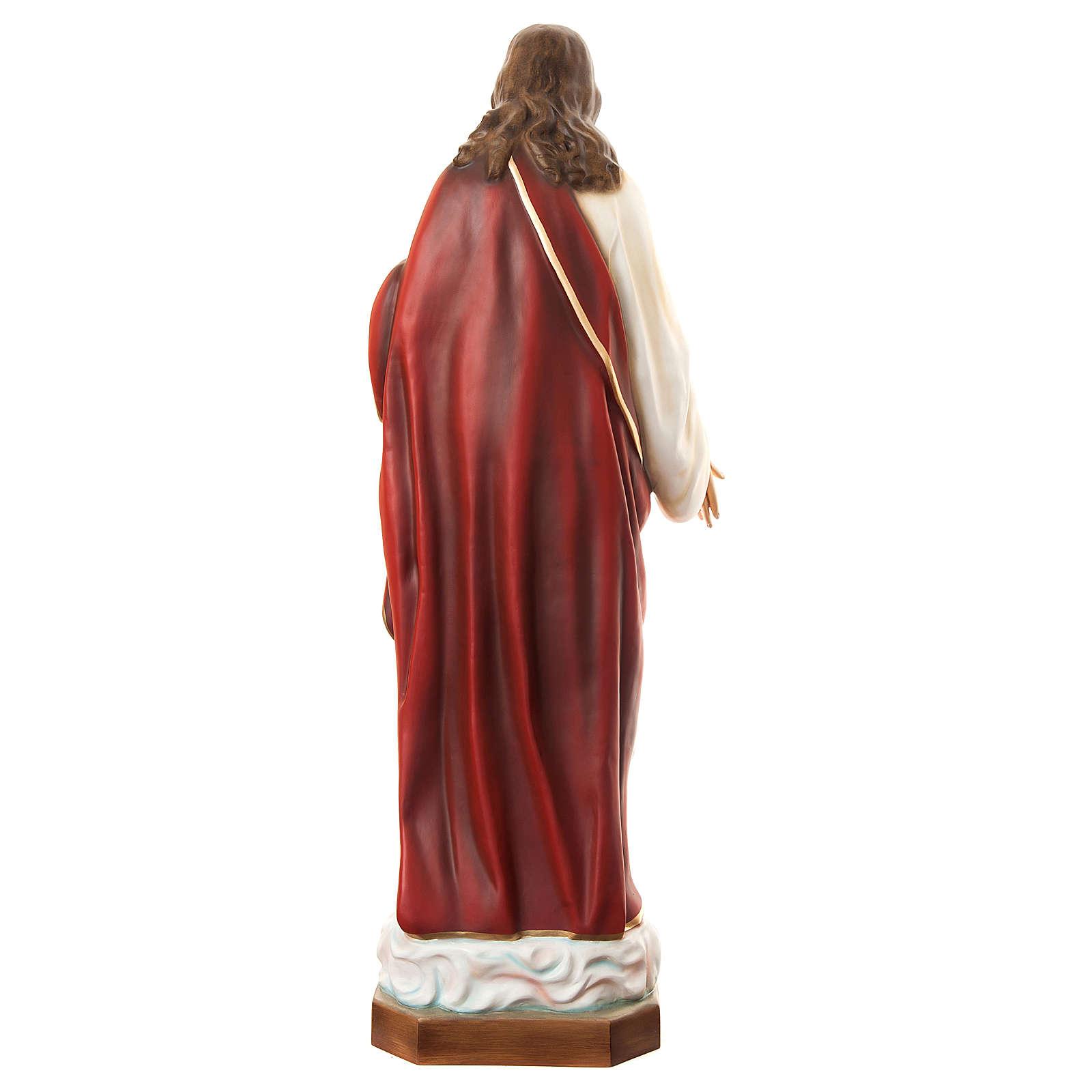 Estatua Sagrado Corazón de Jesús 180 cm fibra de vidrio pintada PARA EXTERIOR 4