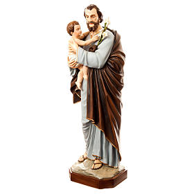 Statue of St. Joseph with child in painted fibreglass 175 cm for EXTERNAL USE s3