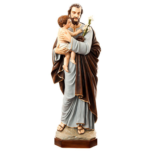 Statue of St. Joseph with child in painted fibreglass 175 cm for EXTERNAL USE 1
