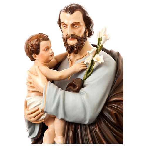 Statue of St. Joseph with child in painted fibreglass 175 cm for EXTERNAL USE 2