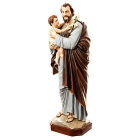 Statua San Giuseppe con bambino 175 cm vetroresina dipinta PER ESTERNO s3