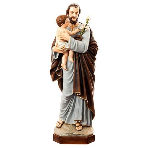 Statua San Giuseppe con bambino 175 cm vetroresina dipinta PER ESTERNO 1