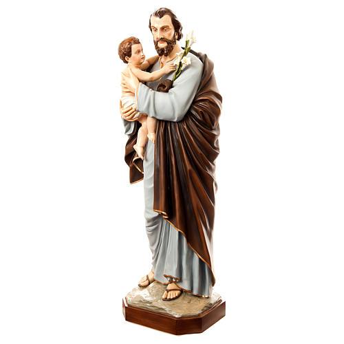 Statua San Giuseppe con bambino 175 cm vetroresina dipinta PER ESTERNO 3
