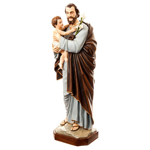 Statue Saint Joseph with Child, 175 cm in painted fiberglass FOR OUTDOORS 3