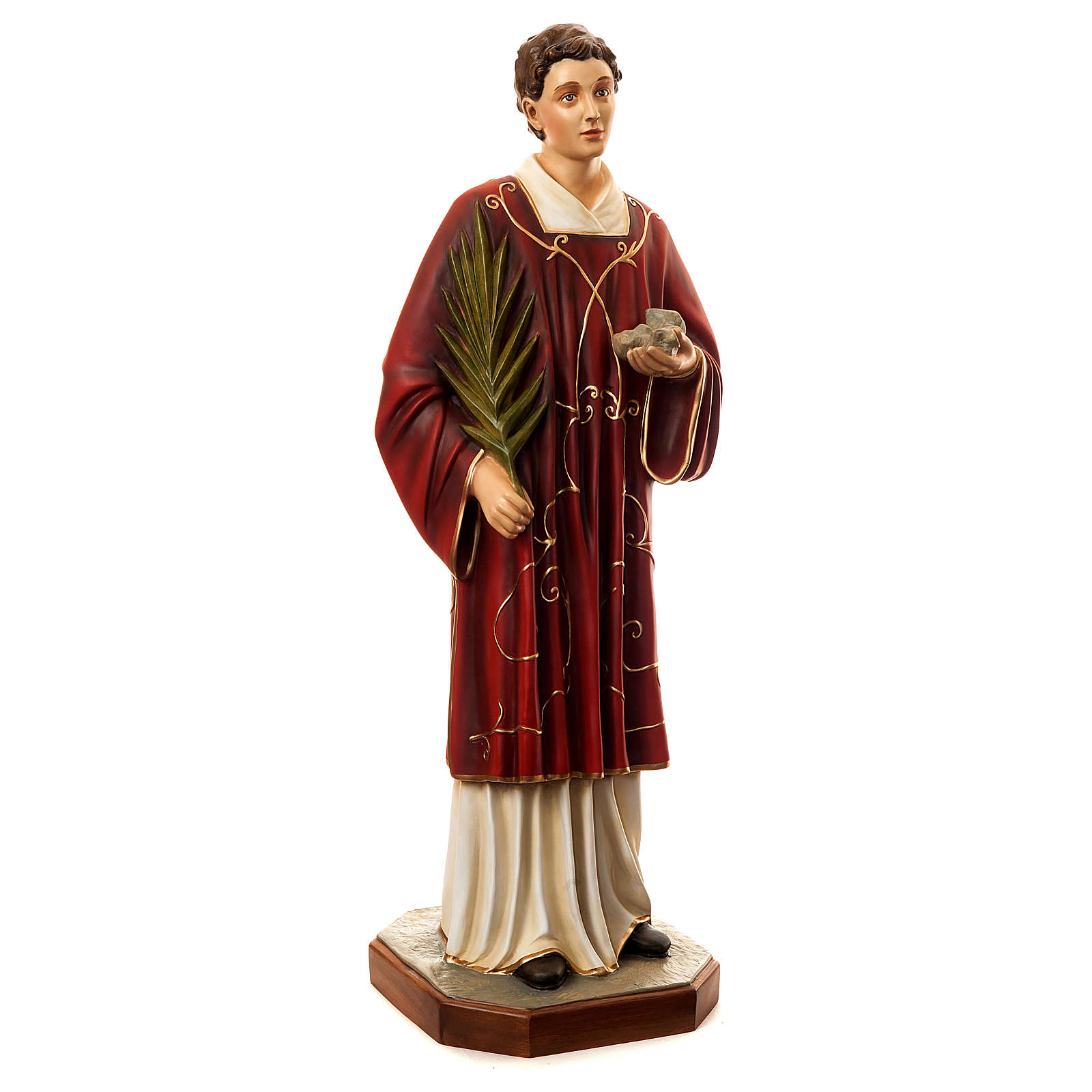 Statue of St. Stephen in coloured fibreglass 110 cm for EXTERNAL USE 4