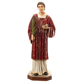 Statue of St. Stephen in coloured fibreglass 110 cm for EXTERNAL USE s1