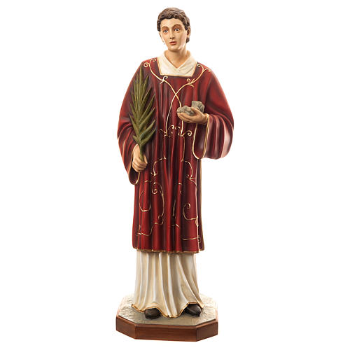 Statue of St. Stephen in coloured fibreglass 110 cm for EXTERNAL USE 1