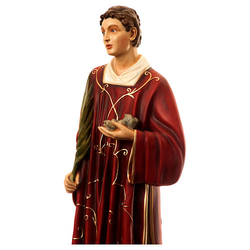 Statue of St. Stephen in coloured fibreglass 110 cm for EXTERNAL USE 2